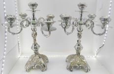 Pair of 5-arm candelabra of silver-coloured metal
