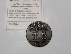 "Kingdom of Naples - 5 Tornese coin, 1797 - ""P under the emblem"" - Ferdinand IV of the Bourbons"