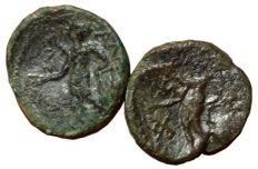 Greek Antiquity - Lot of two Æ - Sicily, Alaisa Archonidea (circa 200 BC) - Head Apollo / Apollo - CNS 7