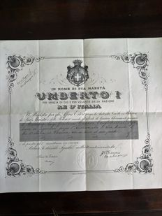 Humbert I, King of Italy, pass in the name of Marquis Luigi Gerolamo Cusani Confalonieri 1893 with royal seal