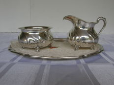 Silver art deco cream set on tray, Wilkens Germany, ca 1930