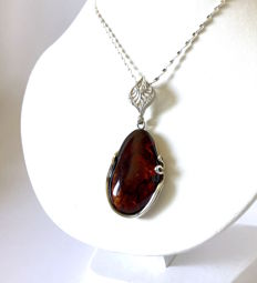 Large old Amber pendant with chain set in sterling silver 925, total weight 15 grams