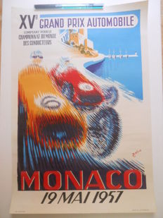 Poster of the 15th Grand Prix of Monaco on may 19th, 1957,  by Bernard Minne