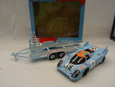 GMP / Norev - Scale 1/18 - Gulf set trailer & Porsche 917K 24 hrs Le Mans 1971 Training