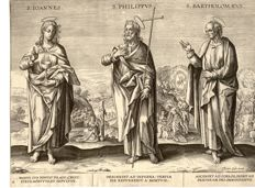 Set of 2 prints by Theodor Galle (1571 - 1633) and Philippe Galle (1537 - 1612) - Ioannnes, S. Philippus, S. Bartholomeus etc. - Circa 1600