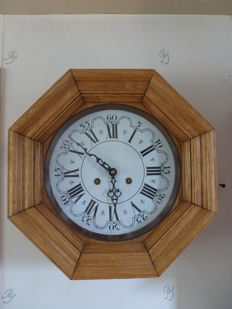 Wall clock - light oak - 1970s
