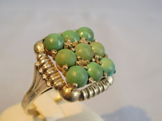 Large ring with natural turquoises