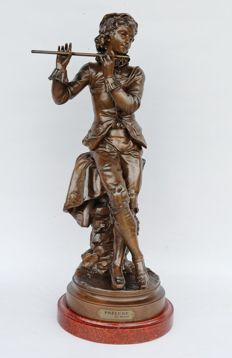 Auguste Maillard (1864-1944) - large sculpture 'Prélude' - boy playing a flute - bronzed metal casting - ca 1900