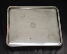 "Christofle  - silver tray for the ""Compagnie Générale Transatlantique"" (French ocean-liner) 1960s"