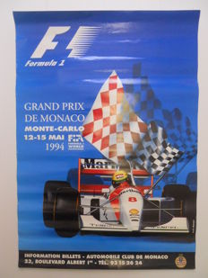 Original poster of the Grand Prix Automobile of Monaco of May,12th to May,15th 1994
