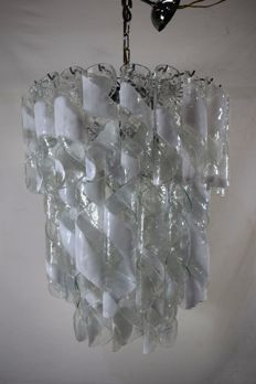 Mazzega - Large chandelier - 7 lights with twisted glass