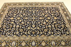 Fine Persian carpet – Kashan – 3.60 x 2.45 – blue hand-knotted, high-quality new wool, oriental carpet GREAT CONDITION no. 104
