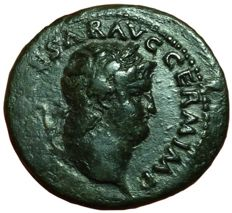 Roman Empire - Nero (54-68 AD) - Æ As (28,5mm; 10,13g), circa 66 AD - Rome mint - Head / Temple of Janus - RIC I, 347