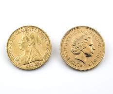 Great Britain – Victoria and Elizabeth II – Two British pounds – 1895 and 2005