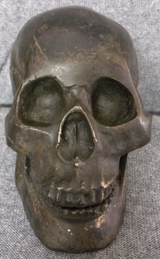 Skull in oxidized brass - Italy, Turin - late 19th century