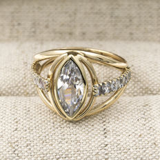 750/1,000 (18 kt) yellow gold - Ring - Quartz - Inner diameter: 18.65 mm