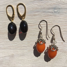 Lot of 2 pairs of  silver earrings, made of  100% natural cherry, cognac and butterscotch Baltic amber: not pressed, not modified