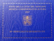 2 Euro 2007. Vatican Special Commemorative Coin for the 80th Birthday of Pope Benedict in Blister Packaging