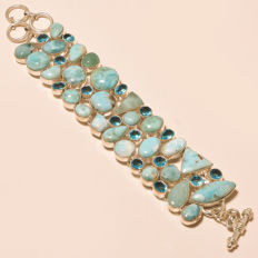 Bracelet in 925 silver, handmade in India with Larimar and quartz