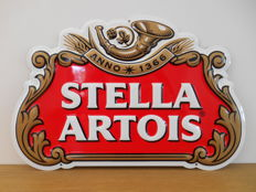 Metal advertising sign for Stella Artois from 2001.