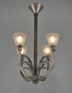 H. Fournet & Muller - French Art Deco chandelier - wrought iron and pressed glass - le fer forgé H.F.