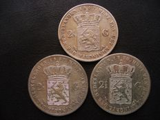 The Netherlands – 2½ guilder coin 1847, 1867 and 1870, Willem II and Willem III (3 pieces) – silver.