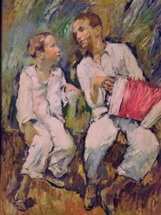 Anonymous (20th century) - Two figures with accordion