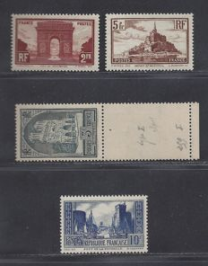 France 1929 - Monuments and sites - Yvert 258, 259, 260 and 261.