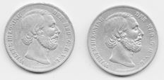 The Netherlands – 2½ guilder 1854 and 1857 William III – Silver