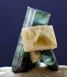 Double Terminated & Undamaged Natural Blue Tourmaline Crystal with Feldspar Specimen - 30 x 20 x 17 mm , 43 carats