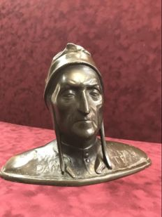 Antique bronze bust of Dante Alghieri - Italy - first half of 20th century