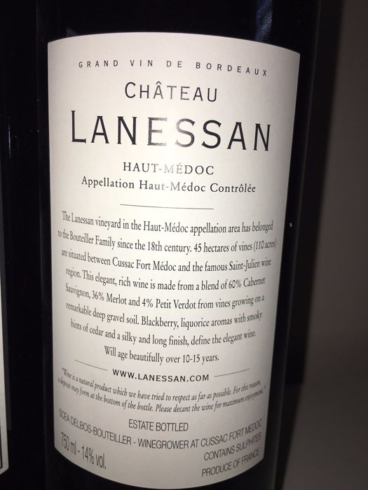 2010 chateau lanessan haut medoc 6 bottles 75cl for Chateau lanessan