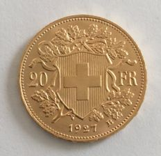 Switzerland - 20 francs 1927 Vreneli - gold