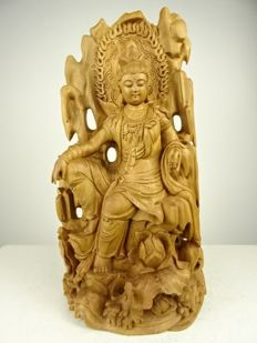 Woodcut statue of a bodhisattva - China - second half 20th century