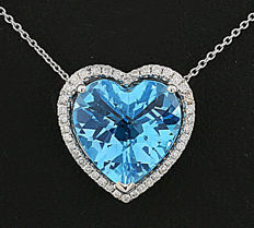Blue topaz brilliant pendant with necklace in 750 white gold --No reserve price--