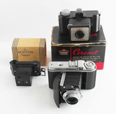 Vintage Voigtlander Perkeo 1; 6x6, Norton camera and Coronet bakelite camera