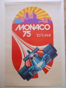 Poster of the Grand Prix of Monaco on may 10-11th, 1975, by Roland Hugon