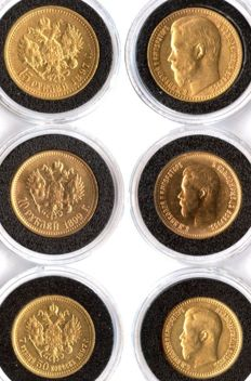 Russia - 7,5, 10, 15 Roubles (3 Coins) - gold