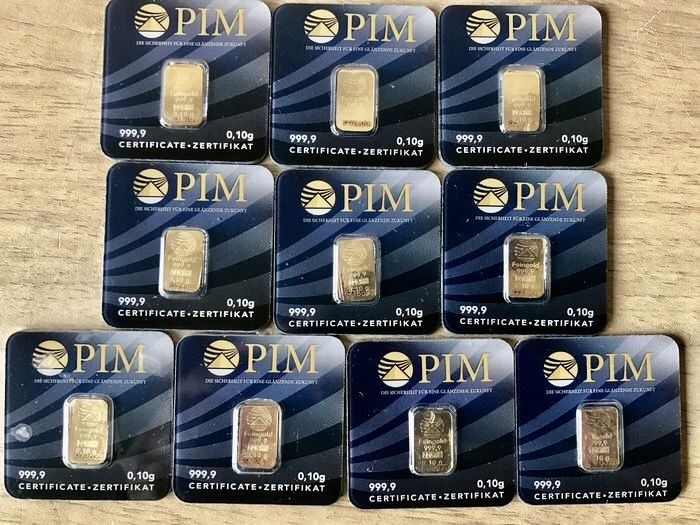 10 Pieces: Gold bars with certificate. - Catawiki