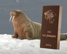 999 fine copper bar 1000 g - walrus - 4. motif out of 10 - with certificate of authenticity - Germany 2013