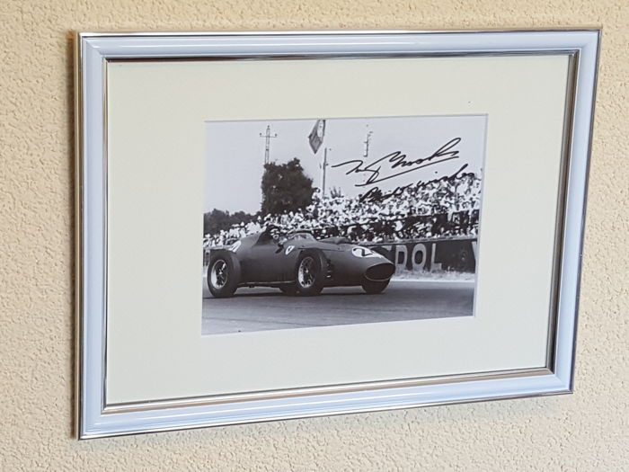 Tony Brooks - Ferrari Formula 1 legend - hand-autographed framed photo + COA