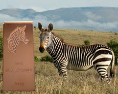 500 g 999 copper bar - 7th motif out of 10 - zebra - with COA - Germany 2016 - 999/1000 fine copper