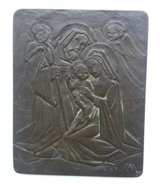 Mari Andriessen - Bronze plaque with the Holy Family