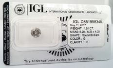 1.01 ct Round Brilliant - IGL SEALD certificate - G color - I2 clarity - 3 x VG ***** LOW RESERVE *****