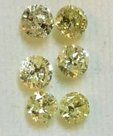 Lot of 6 natural diamonds ct. 1.04 No reserve price.