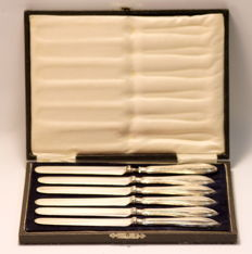 Silver set of six knives with mark of William Yates Ltd, Sheffield - 1919