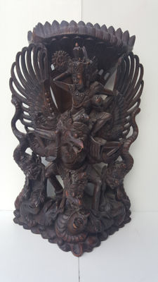 Very large, carved, wooden Garuda, weight 6 kg - Bali - Indonesia.