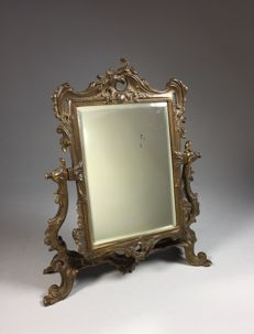 Bronzed vanity mirror in Rococo style-France-ca. 1900