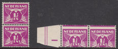 The Netherlands 1926 - Flying pigeon, plate error and misprint - NVPH 171Af and 171 with displaced perforation
