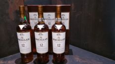 Macallan 12 Year Old Sherry Oak x 3  700ml bottles
